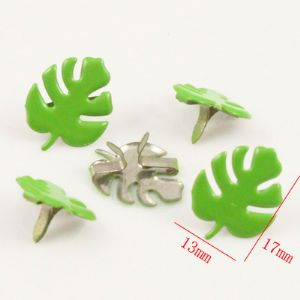 Decorative Brads & eyelets, High quality metal alloy, green, 17mm x 13mm x 8mm, 8  pieces, (PKD049)